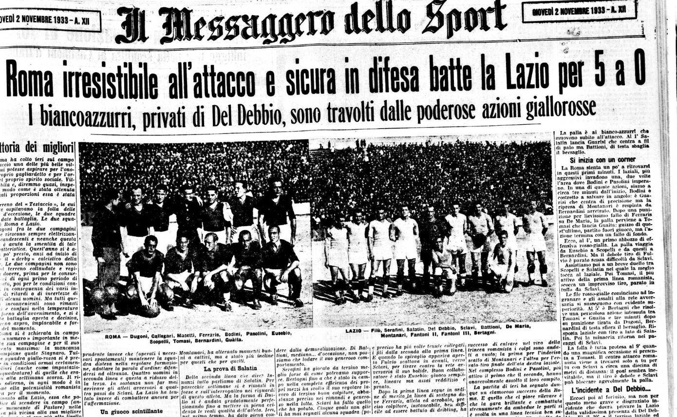 Campionato 1933/34, Roma-Lazio 5-0 sulla prima pagina del Messaggero