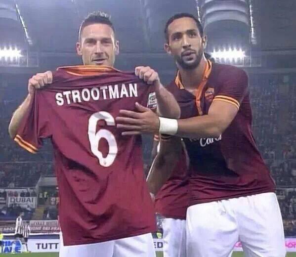 2013/14 Roma-Udinese, Totti e Benatia dedicano la vittoria al compagno di squadra infortunato Strootman